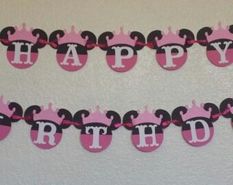 Minnie Mouse Princess Birthday Banner, Minnie birthday banner, Princess banner,