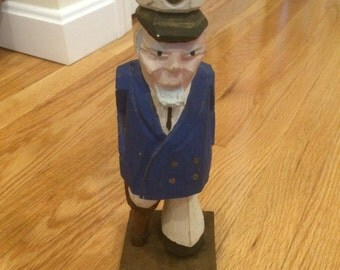 Vintage Wood Carved Sea Captain with Peg Leg