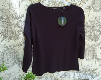 Vintage  Black Valerie Stevens Classic Sweater Petite Medium Pure Cotton NWT
