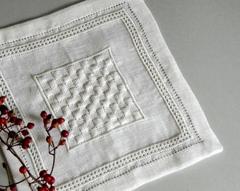 Hand embroidered doily with geometric pattern. Modern doily. Elegant and modern design for a centerpiece or an original gift