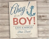 25 Printed Invitations with Envelopes Nautical Baby Shower Navy Red Stripes Summer Navy Blue Anchor Vintage Ahoy Boy Invitations handmade