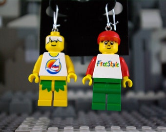 Surfer Dude and Freckled Face Kid Dangle Earrings Handmade from Lego bricks