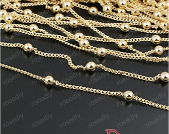 5Meters 1.2mm Golden Necklace Plated Chain Bead Cable Link Chains M28246