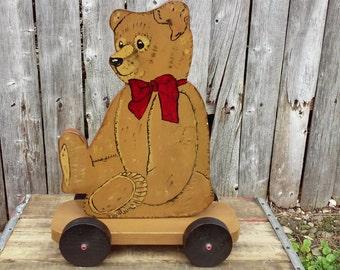 Vintage Handmade Wooden Bear Push Toy
