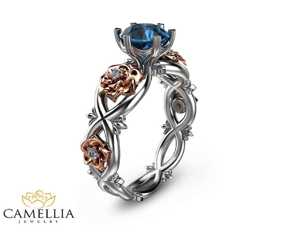 unique blue topaz ring 14k two tone gold topaz by