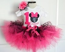 Baby girl first Birthday outfit,Hot Pink Black Mouse tutu outfit,Girls First Birthday outfit,1st birthday outfit,cake smash birthday outfit