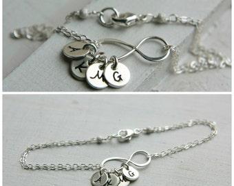 Personalized Infinity Bracelet, Sterling Silver Infinity Bracelet, Custom Infinity Bracelet, Mom Bracelet, Modern Mom Bracelet, Initial