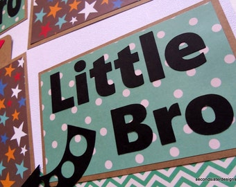 BIG BRO little BRO Premade 12x12 scrapbook page boys toys brothers family