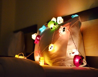 20 Mixed Happy Animals Lantern String Lights for Home Decoration  Bedroom Decor & Birthday Party
