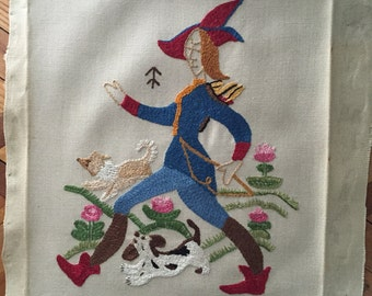 Antique Crewel Embroidery - Soldier With Dogs - Silk Thread