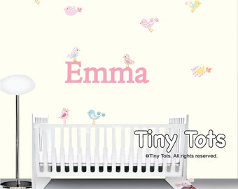 Children Nursery Wall Decals-Custom Name Decal with Birds-Vinyl Wall Stickers Decal