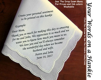 Wedding Hankies With Your Customized Personalization ~  Printed on the Hankerchief  For the Bride, Groom, Parents and loved ones. Hankies