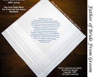 Father of the Bride Gift Hankie From the Groom  0204  Sign and Date for Free!  8 Ink Colors ~ FOB Wedding Handkerchief from the Groom
