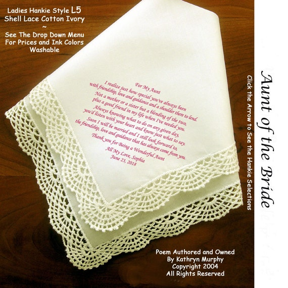 Wedding Gift For Aunt: Aunt Of The Bride Or Groom Gift Hankie & Poem From Bride 1801