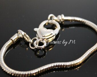 Silver Plated Heart Lobster Clasp Bracelet Fit European Style Beads
