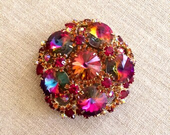 Vintage Delizza and Elster Brooch, D & E Brooch.  Juliana Rainbow Rivoli Brooch.  Verified book piece, stunning Rivolis and Rhinestones