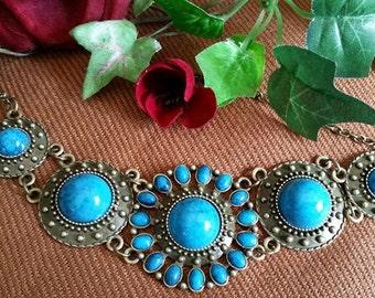 Turquoise Brass Bib Necklace