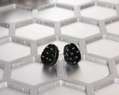 Carbon Fibre Egg Shape Earrings