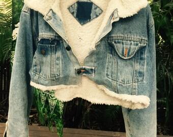 Vintage denim 80s cropped denim jacket