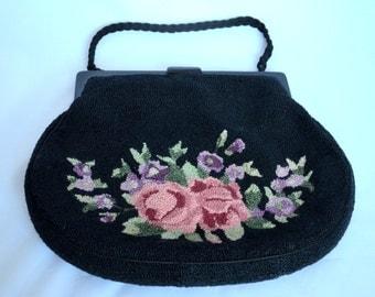 Vintage Tapestry Handbag, Chenille Purse, Carpet Bag from Mrs B Monte Tapestry Studio San Francisco
