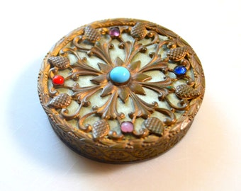 Stunning Antique Austrian Jeweled Compact, Early 1900s