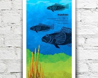 Kopukopu illustration print – New Zealand native fish series. 2 sizes, limited series.