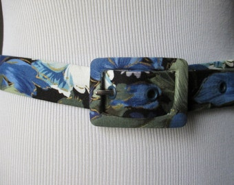 Vintage Blue Floral Belt