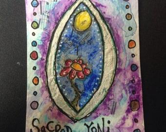 Original ACEO Art Card Sacred Yoni Painting