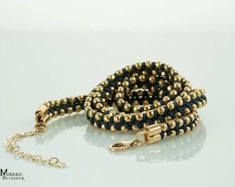 Gold & black wrap bracelet, 3X wrap around gold bracelet, vegan wrap bracelet, non leather bracelet, elegant bohemian chic stacking bracelet