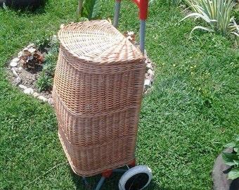 Wicker Shopping Trolley, Wicker Shopping Basket Trolley, Willow Shopping Basket Trolley, Wicker Shopping Bag on Wheels, Wicker Shopping Cart