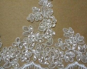 Off-white Bridal Lace trim, Alencon Lace Trim with Silver Paillette, wedding lace, trim lace, scalloped lace trim