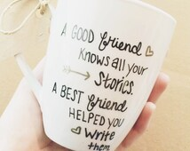 16 oz BFF Best Friend Quote Perfect friend gift present , Black and Gold , Heart , arrow , Coffee Mug Tea Cup