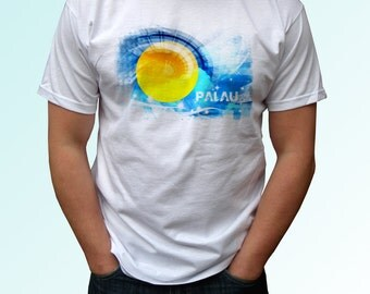 Palau Flag - new white holiday t shirt country print design 100% cotton - Mens, womens, kids & baby clothing - all sizes!