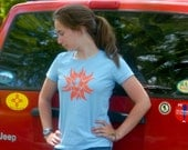 SUN Hand-Crafted Screen-Printed 100% Cotton Women's T-Shirt in Blue & Orange