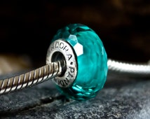 Authentic Pandora Fascinating Teal Glass Charm, Teal Faceted Glass Charm, Turquoise Pandora Charm, Sterling Silver Charm