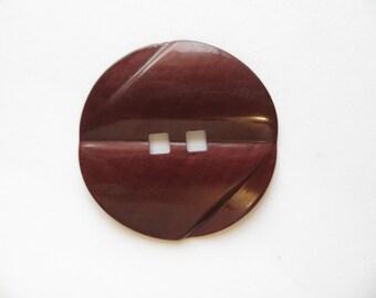 BIG Circa 1930's Antique Art Deco Red Browny Bakelite Collectible Coat Clutch Bag Button-5 cm