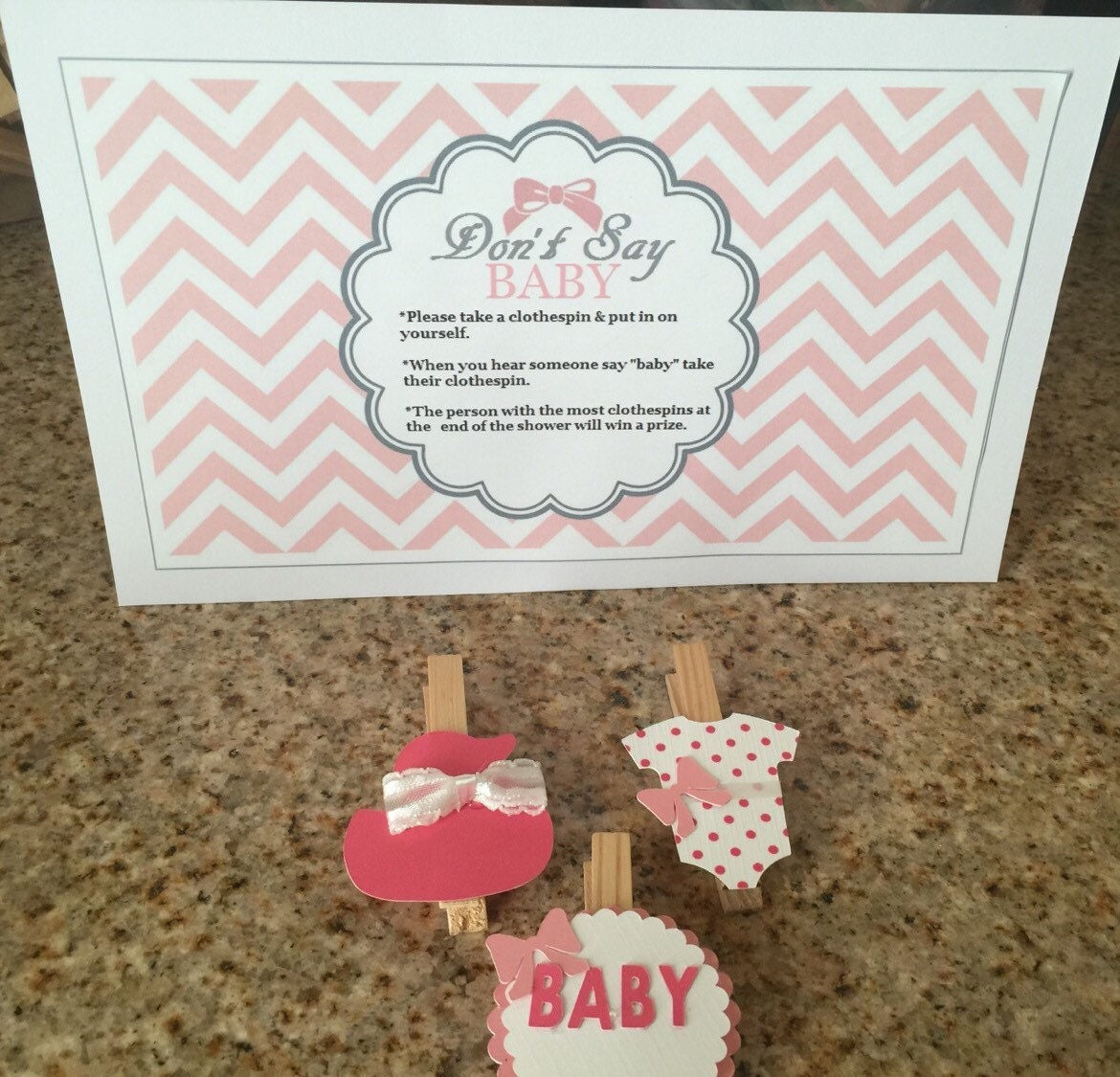 baby shower clothespins with game by decorationsbybelle on etsy