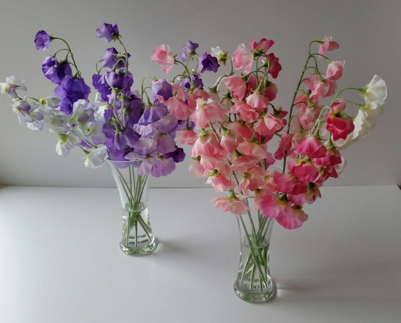 Faux Silk Flower Arrangement Tall Elegant Clear Glass Vase