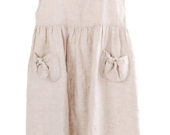 Grey Linen Dress with Pleats
