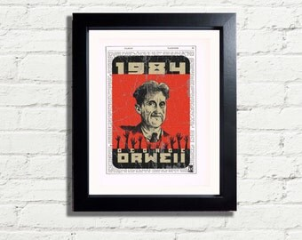 1984 George Orwell Classic Upcycled Art Print INSTANT DIGITAL DOWNLOAD Printable A4 Pdf Jpeg Image Artwork