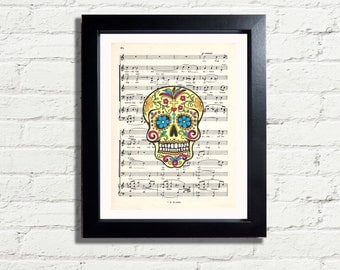 Sugar SKULL 2 Fun Art Print INSTANT Digital DOWNLOAD Of Music Paper Page Artwork Wall Hanging Home Decor quirky Gift Idea