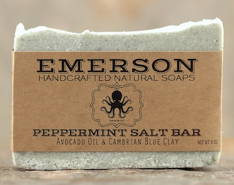 Peppermint Sea Salt Soap • Vegan Soap, All Natural Soap, Handmade Soap, Cold Process Soap, Palm Free Soap, Cambrian Blue Clay