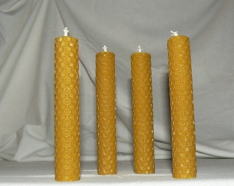 Hand Rolled Beeswax Candle - Beeswax Pillar Candle - Set of 4 Candles