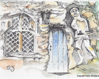 Chapel of Our Lady of the Crag, Knaresborough. - Giclee Print of Original Watercolour and Pen Drawing by English Artist Claire Strickland