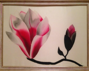 Magnolia - Original Batik Painting On Silk by Anna Vayner. Size 60x40 cm.