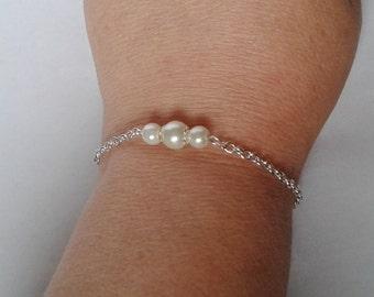 Bridesmaid Bracelet, Pearl Bracelet, Bridal Bracelet, Bridesmaid Gift Mother of the Bride, Wedding Jewellery, Ivory Pearl Bracelet, Bracelet