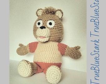 Teddy Ruxpin stuffed toy handmade crochet READ ITEM DETAILS below