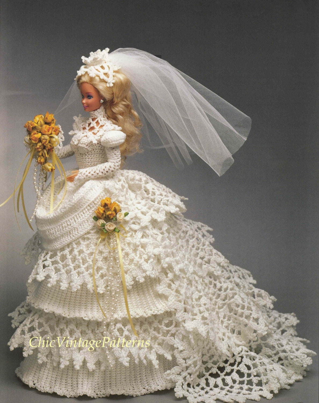 Вязание крючком для барби свадебное платье 43