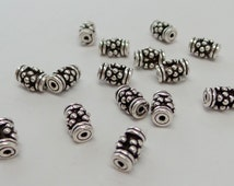 Bali solid 925 Sterling silver granulated tube spacer bead. Oxidized. Handmade .wholesale prices. B108