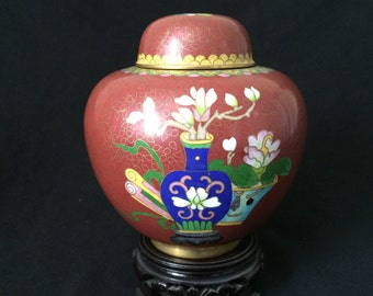 Vintage Chinese Cloisonné  Ginger Jar Red With Fruit and Wood Stand